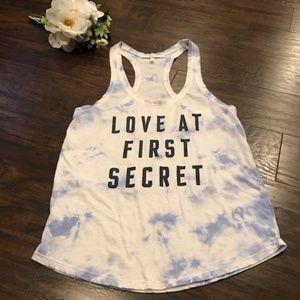 VS   love at first secret racerback tank tie dye